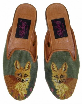 TW1050 Fox on Green Needlepoint Mule