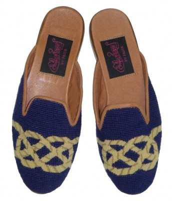 T03349 Knot on Navy Needlepoint Mules