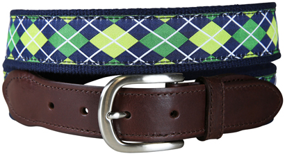 Argyle (Navy & Green) Leather Tab Belt