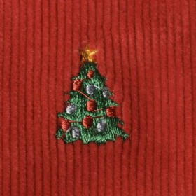 Beachcomber Corduroy Pant Bright Red with Christmas Tree