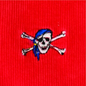Beachcomber Corduroy Pant Bright Red with Skull