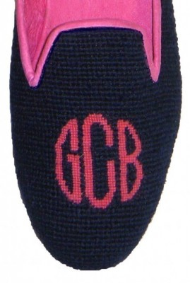 Needlepoint Monogram mule or loafer
