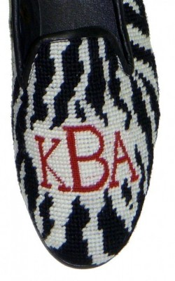 Zebra Needlepoint Monogram Loafer or Mule