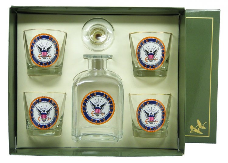 Navy, Decanter Set w/4 Tapered Old Fashioned, gift Boxed - Click Image to Close