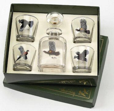 Upland, Decanter Set w/4 Tapered Old Fashoned Glasses, gift boxe