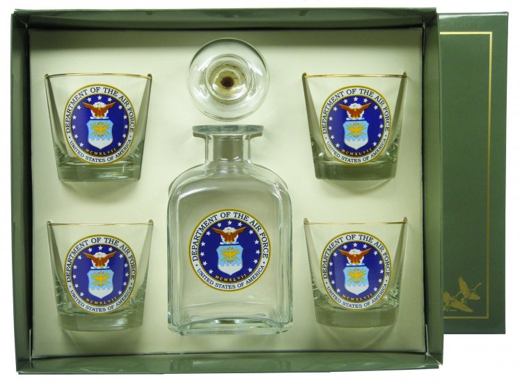 Air Force, Decanter Set w/4 Tapered Old Fashioned, gift Boxed - Click Image to Close
