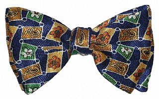 Navy with Linked Boxes Print Day Bow