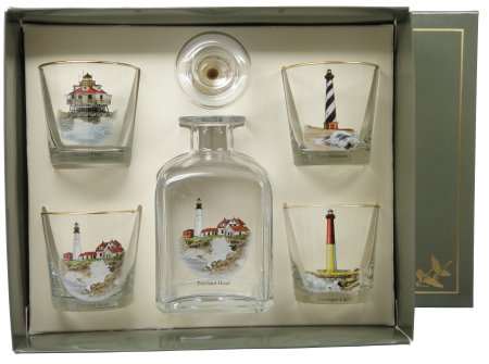 Lighthouse, Decanter Set w/4 Tapered Old Fashioned, gift Boxed