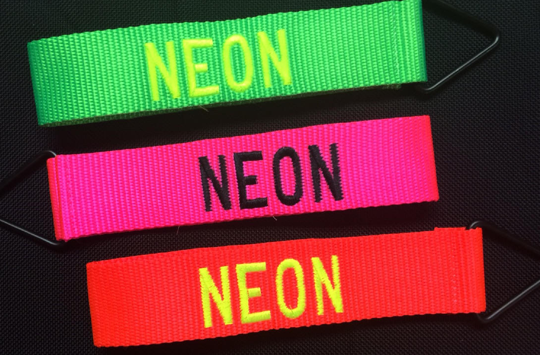 Embroidered Personalized Luggage Tags Neon Colors From Dann
