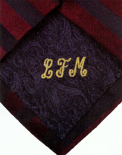 Personalized Fuchsia Silk Tie with Embroidered Monogram